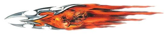 Flaming Tribals& Skull Dekal Bilsty