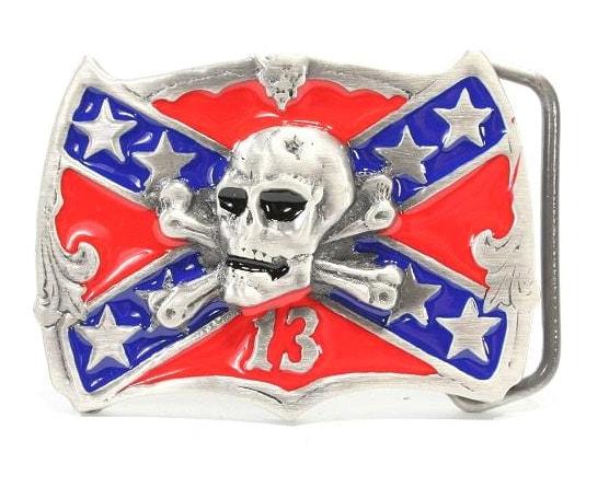 Bältesspänne Dixie Flag Skull Bilstyling