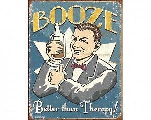Booze Therapy - Retro Skylt