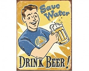 Save Water - Retro Skylt