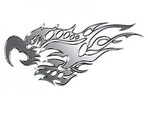 Metallic Bird & Flames Stor x2 - Dekal