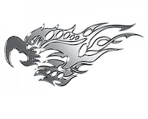 Metallic Bird & Flames Stor x2 - Dekal