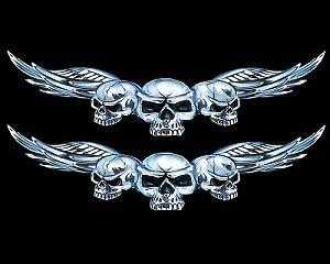 Sculls With Wings Liten - Dekal
