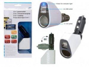 Cigg- & USB-laddare 3 i 1