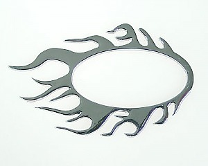 Emblem Chrome Style - Flames Circle