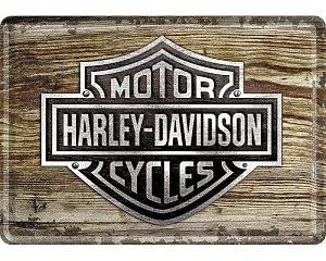 Vykort Harley Davidson - Logo Wood