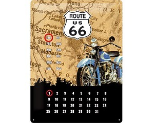 3D Metallskylt Route 66 - Kalender Bike 30x40
