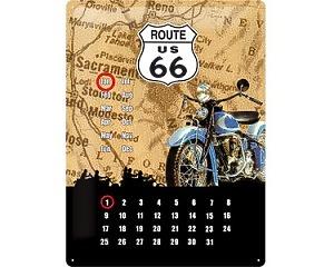 3D Metallskylt Route 66 - Kalender Bike 30x40
