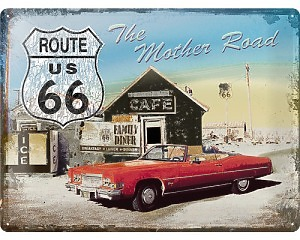 3D Metallskylt Route 66 - Mother Road 30x40