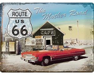 3D Metallskylt Route 66 - Mother Road 30x40