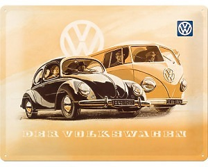 3D Metallskylt VW - Käfer & Bus 30x40