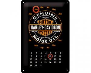 3D Metallskylt Harley-Davidson Kalender Genuine Black 20x30
