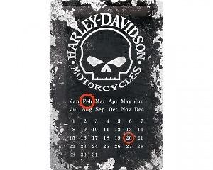 3D Metallskylt Harley-Davidson Skull Kalender 20x30