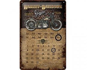 3D Metallskylt Harley-Davidson Kalender Genuine Wall 20x30