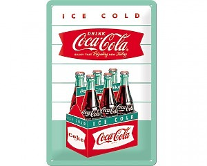 3D Metallskylt Coca Cola - 6-pack 20x30