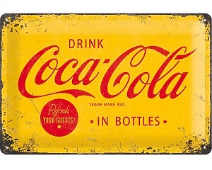 3D Metallskylt Coca Cola - Yellow Logo 20x30