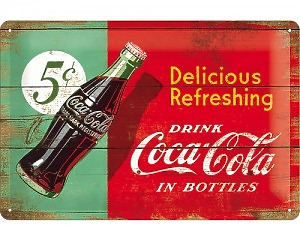 3D Metallskylt Coca Cola - 5 cent  20x30