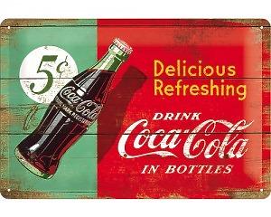 3D Metallskylt Coca Cola - 5 cent  20x30