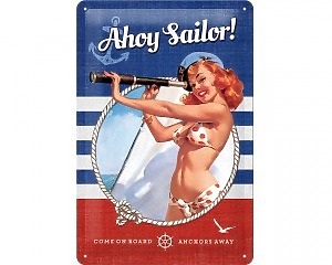 3D Metallskylt Pin Up - Ahoy Sailor 20x30