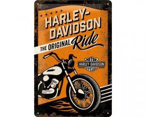 3D Metallskylt Harley-Davidson Original Orange 20x30
