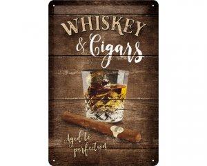 3D Metallskylt Whiskey & Cigars 20x30