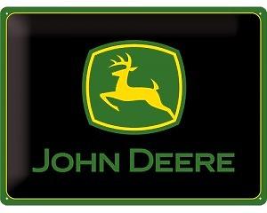 3D Metallskylt John Deere - Black Logo 30x40