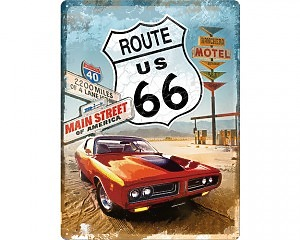3D Metallskylt Route 66 - Main Street 30x40