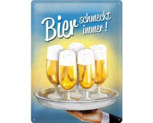 3D Metallskylt Alkohol - Bier schmekckt immer! 30x40