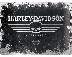 3D Metallskylt Harley-Davidson Skull 30x40