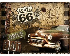 3D Metallskylt Route 66 - Drive 30x40