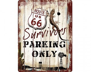 3D Metallskylt Route 66 - Parking Only 30x40