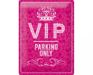 3D Metallskylt VIP Parking Only - Rosa 30x40