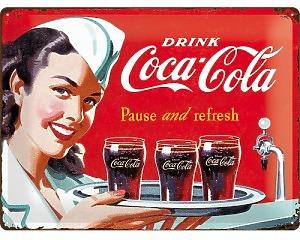 3D Metallskylt Coca Cola - Waitress 30x40
