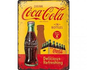 3D Metallskylt Coca Cola - Yellow & Bottles 30x40