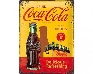 3D Metallskylt Coca Cola - Yellow & Bottles 30x40