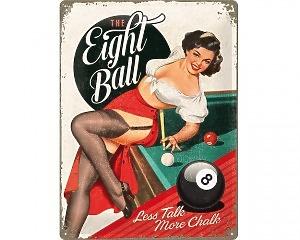 3D Metallskylt Open Bar - Eight Ball 30x40