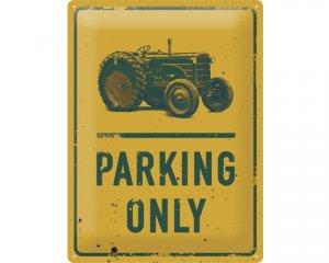 3D Metallskylt Tractor Parking 30x40