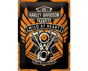 3D Metallskylt Harley-Davidson Wild at Heart 30x40