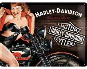3D Metallskylt Harley-Davidson Biker Babe 30x40