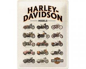 3D Metallskylt Harley-Davidson Model Chart 30x40