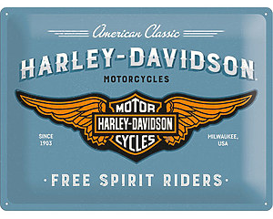 3D Metallskylt Harley-Davidson Blue 30x40