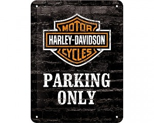 3D Metallskylt Harley-Davidson Parking Only 15x20