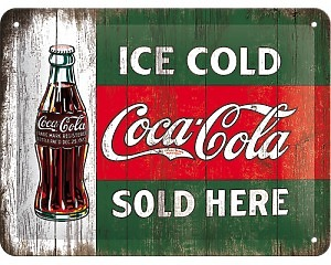 3D Metallskylt Coca Cola - Ice Cold Bottle 15x20