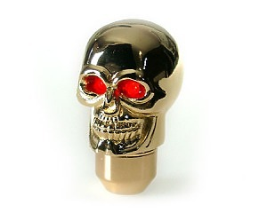 Växelspak Skull-Gold LED Red-eye