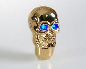 Växelspak Skull-Gold LED Blue-eye