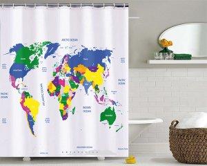 Världskarta - Duschdraperi