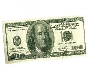 Servett 100-dollarsedel Liten