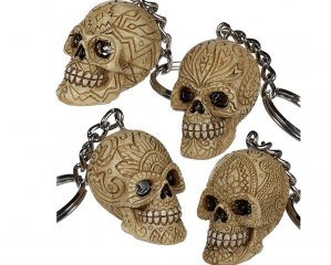 Nyckelring Dödskalle Ornament