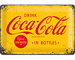 3D Metallskylt Coca Cola - Yellow Logo 20x30
