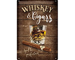3D Metallskylt Whiskey & Cigars 20x30